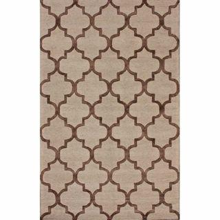 Handmade Luna Moroccan Trellis Brown Faux Silk / Wool Rug