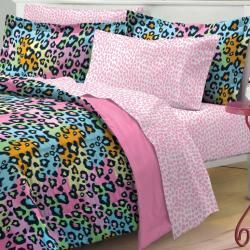 Neon Leopard 7 piece Bed in a Bag with Sheet Set