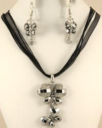 Crystal Hematite and Rhinestone Double Butterfly Jewelry Set