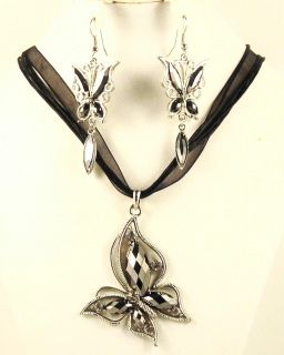 Silver Alloy Crystal Hematite and Rhinestone Butterfly Jewelry Set