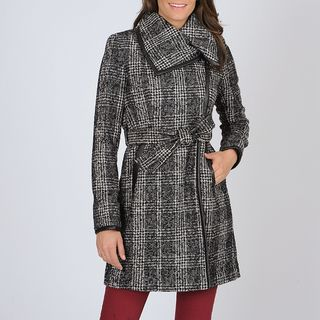 Vince Camuto Womens Black/ White Plaid Trench Coat