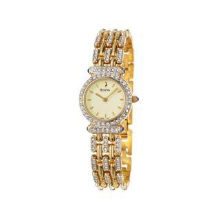 Bulova Womens Crystal Goldplated Steel Quartz Watch