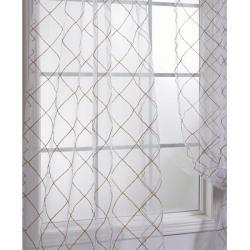 de cortina transparente, organza, blanco, con bordado entramado, 108