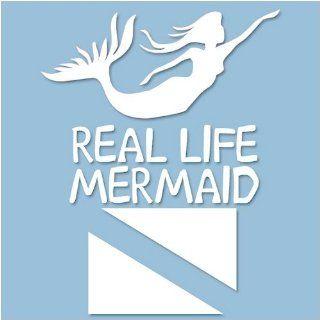 Real Life Mermaid Vinyl Decal White, 6.5 x 8 Sports