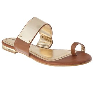 Riverberry Womens Bloom 73 Chestnut/ Gold Toe Ring Sandals