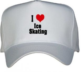 I Love/Heart Ice Skating White Hat / Baseball Cap