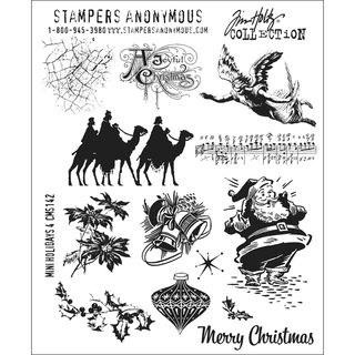 Tim Holtz Large Cling Rubber Stamp Set Mini Holiday #4