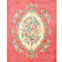 Indo Hand knotted Pink/ Ivory Auboussan Wool Rug (8 x 113