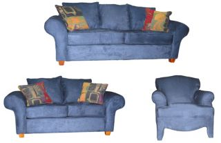 Royal Blue Eurosuede Sofa, Loveseat, and Chair Set