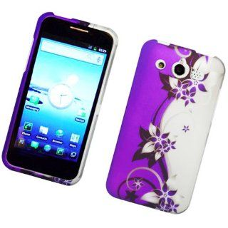 /Glory M886 Rubber 2D Image Protector Case Purple/Silver Vines 173
