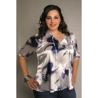 INES Collection Womens Plus Size Split Neck Peasant Blouse