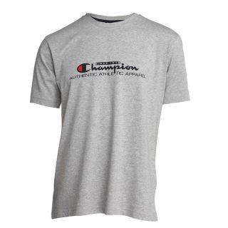 Coloris  gris chiné. T shirt CHAMPION Homme 100% Coton, à manches