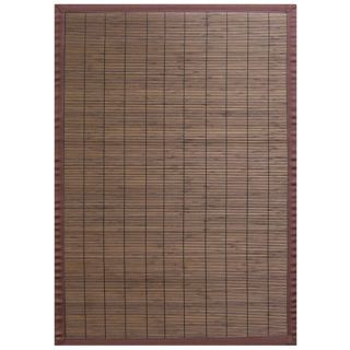 Villager Coffee Brown Border Bamboo Rug (7 x 10)