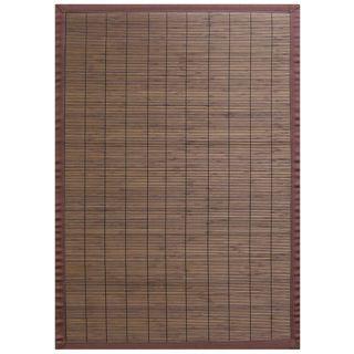 Villager Coffee Brown Border Bamboo Rug (7 x 10)