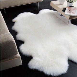 Genuine Sheepskin Rug Four Pelt Natural White 4x6 Home