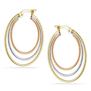 Miadora 10k Tri color Gold Hoop Earrings
