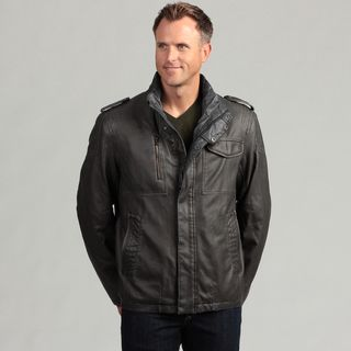 Izod Mens Faux Leather Zip up Jacket