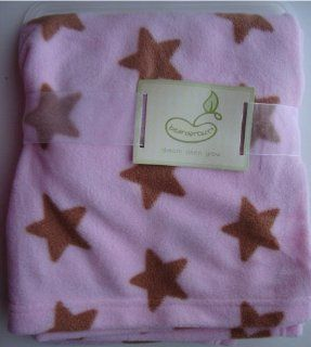 Beansprout Pink with Brown Stars Baby Girls Blanket Baby