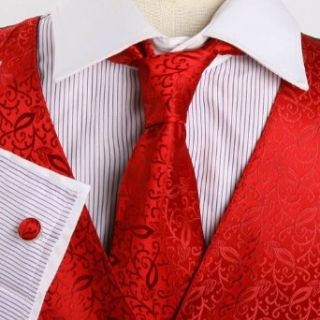 Red Pattern Formal Vest for Men Gift Idea with Neck Tie