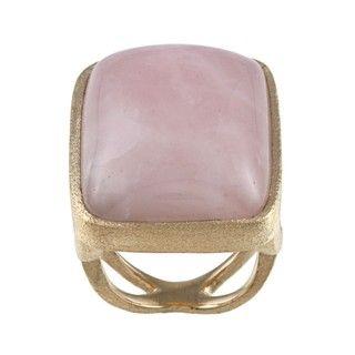 Rivka Friedman Gold Overlay Rose Quartz Ring
