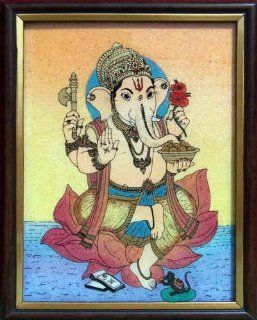 Ganesha on Lotus Flower Art Craft Handicraft Painting