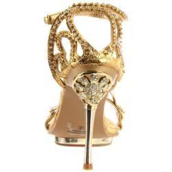Celeste Womens Joyce 07 Gold X Rhinestone Heels