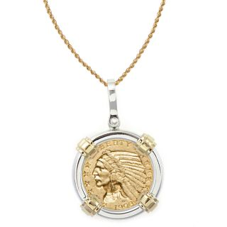 American Coin Treasures 14k Gold Sterling Silver $5 Indian Head Gold