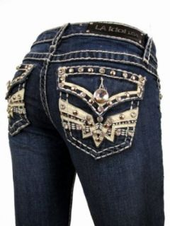 L.A. Idol Women Bootcut Jeans Christina Leather Crystal