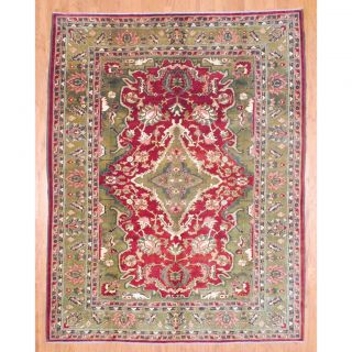 Afghan Hand knotted Vegetable Dye Oushak Burgundy/ Olive Wool Rug (8