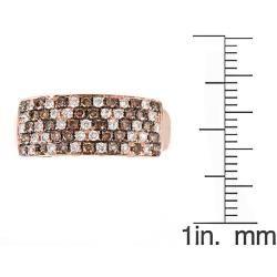 Yach 14k Rose Gold 3/4ct TDW Brown and White Diamonds Zig zag Ring
