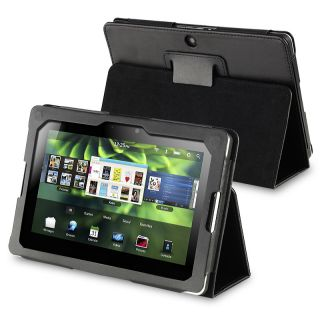 BasAcc Black Leather Case with Stand for BlackBerry Playbook