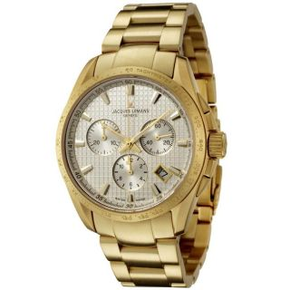Jacques Lemans Mens Geneve/Tempora Gold Ion Plated Chronograph Watch