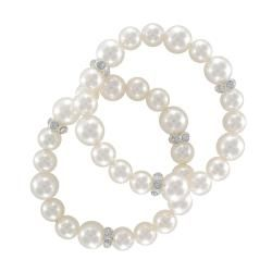 Roman Faux Cream Pearl Crystal Stretch Bracelet (Set of 2)