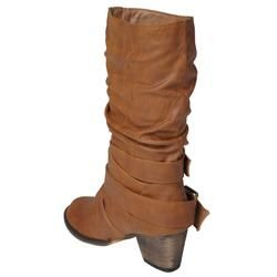 Journee Womens Gossip 5 Buckle Accent Mid calf Boots