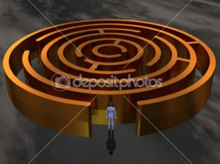 Woman standing at the entrance of a maze  Foto stock © njaj #6594178