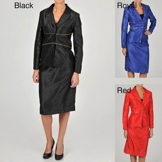 Allyson Cara Womens Zipper Accent Skirt Suit