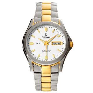 Bulova Mens Bracelet Two tone Stainless Steel Automatic Watch