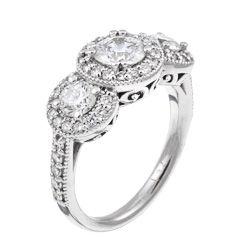 18k Gold 1 3/4ct TDW 3 stone Pave Diamond Engagement Ring (H, SI2