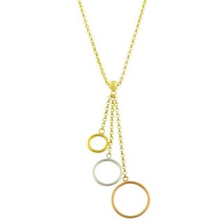 14k Tri color Gold 17 inch Circle Drop Necklace