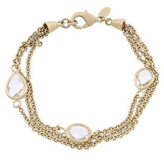 Rivka Friedman Gold Overlay 3 row Rock Crystal Bracelet