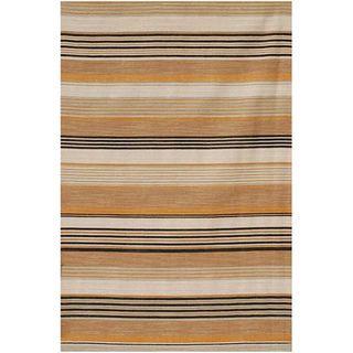 Flat Woven Brown Striped Wool Rug (8 x 10)