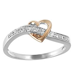 Tressa Rose Gold plated and Sterling Silver Cubic Zirconia Heart Ring