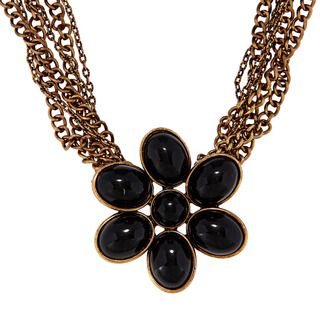 Amrita Singh Goldtone Black Resin Flower Necklace