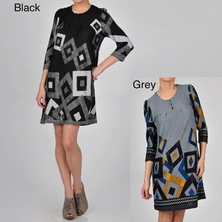 Kaktus Womens Diamond Geometric Print 3/4 sleeve Shift Dress