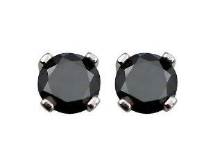14k White Gold Black Diamond Stud Earrings (3/4 cttw