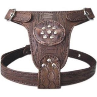 Brown Faux Leather with Crystal Studs Dog Harness