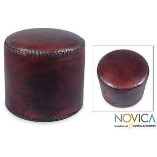 Littoral Coffee Leather Ottoman Cover (Brazil) Today $134.99