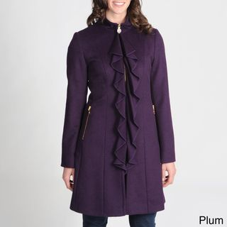 Tahari Womens Ruffle Front Wool blend Coat