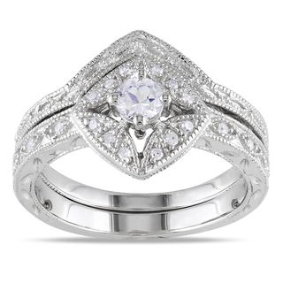 Miadora Silver Created Sapphire and 1/10ct TDW Diamond Bridal Ring Set