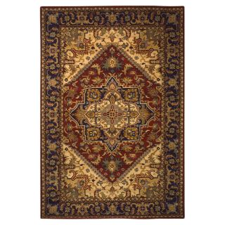 Handmade Heritage Heriz Red/ Navy Wool Rug (4 x 6)
